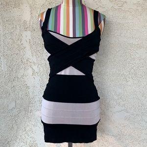 Bebe Black and Cream Bodycon Mini Dress